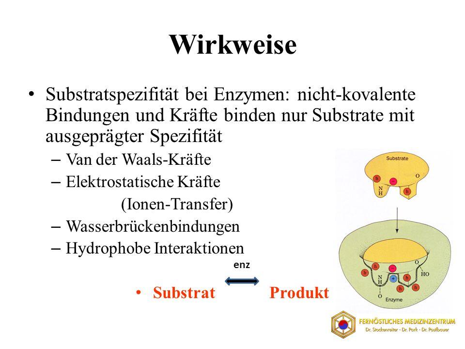 Wirkweise Substratspezifität bei Enzymen: nicht-kovalente Bindungen und Kräfte binden nur Substrate mit ausgeprägter Spezifität – Van der Waals-Kräfte