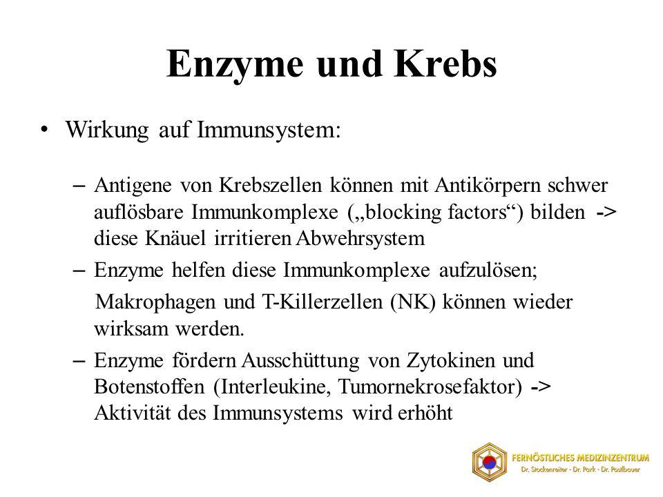 Enzyme und Krebs Wirkung auf Immunsystem: – Antigene von Krebszellen können mit Antikörpern schwer auflösbare Immunkomplexe (blocking factors) bilden
