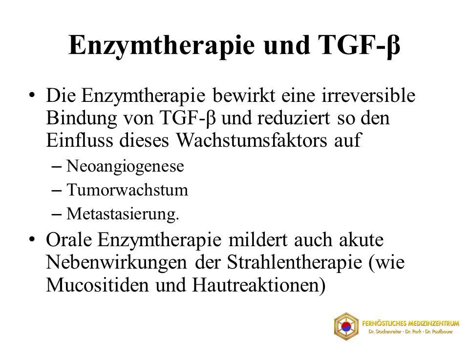 Enzymtherapie und TGF-β Die Enzymtherapie bewirkt eine irreversible Bindung von TGF-β und reduziert so den Einfluss dieses Wachstumsfaktors auf – Neoa