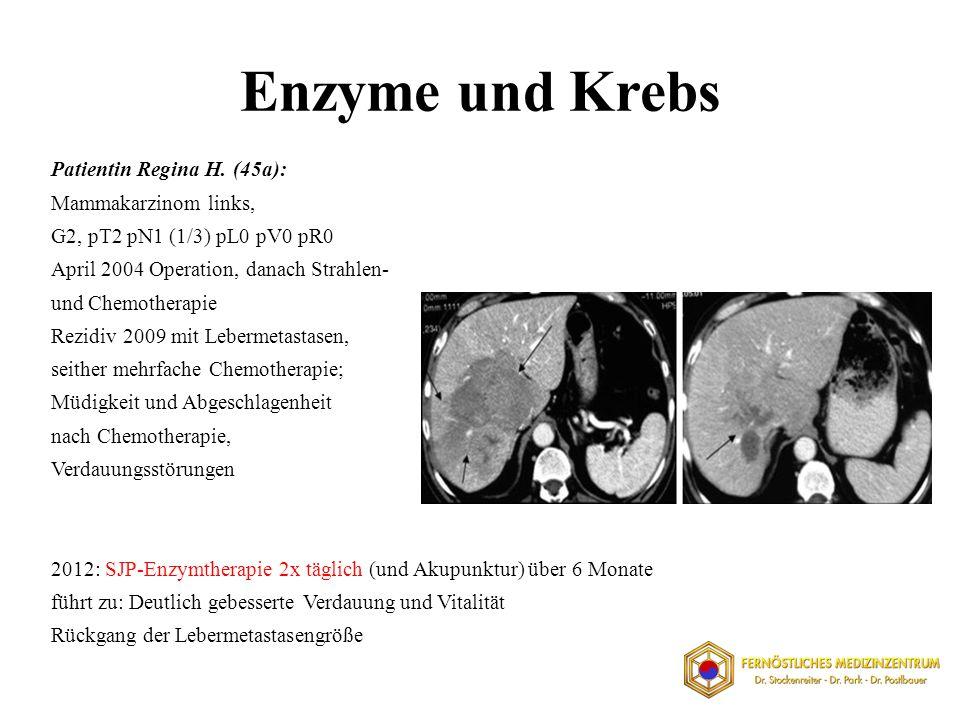 Enzyme und Krebs Patientin Regina H. (45a): Mammakarzinom links, G2, pT2 pN1 (1/3) pL0 pV0 pR0 April 2004 Operation, danach Strahlen- und Chemotherapi