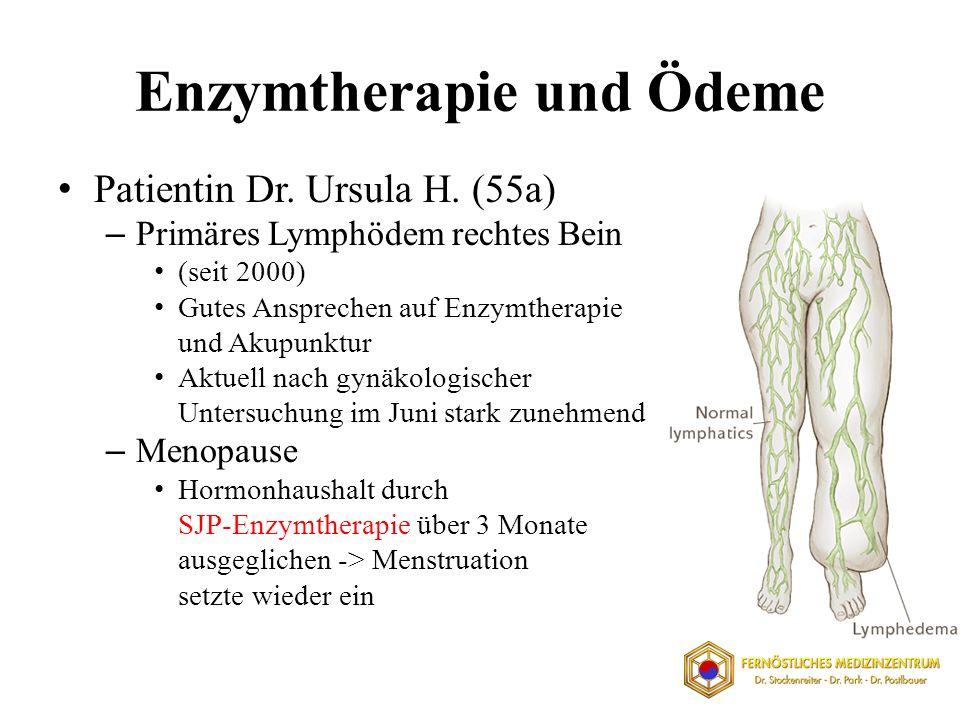 Enzymtherapie und Ödeme Patientin Dr. Ursula H. (55a) – Primäres Lymphödem rechtes Bein (seit 2000) Gutes Ansprechen auf Enzymtherapie und Akupunktur