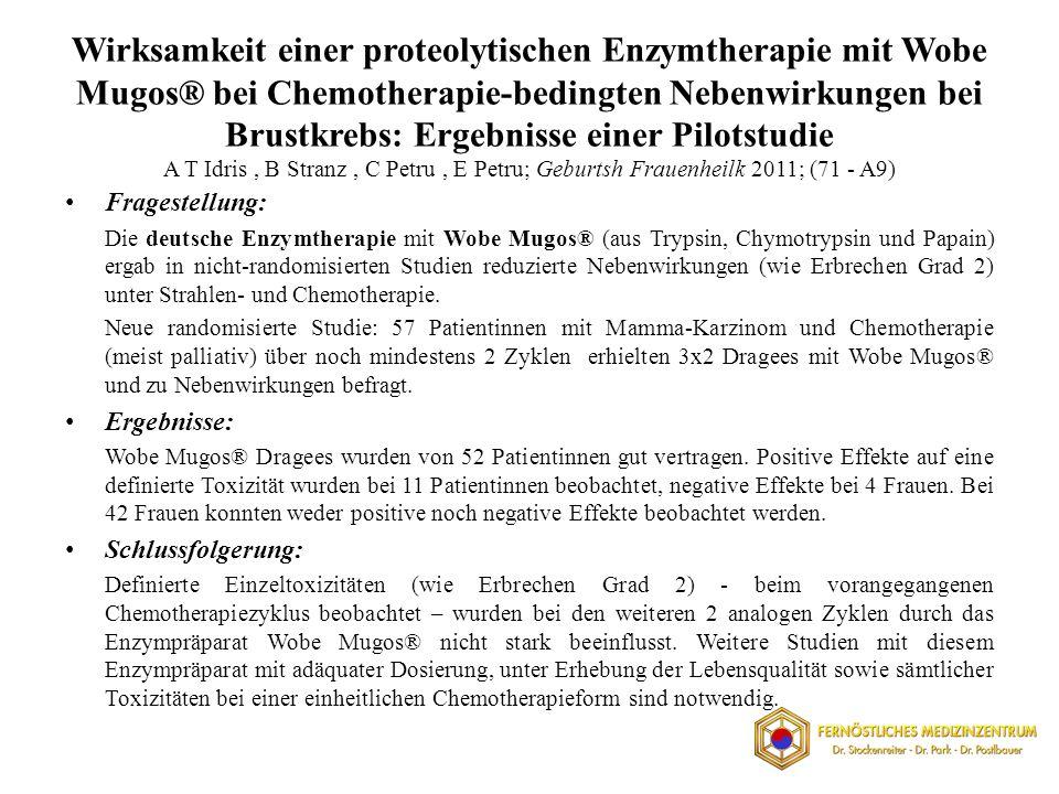 Wirksamkeit einer proteolytischen Enzymtherapie mit Wobe Mugos® bei Chemotherapie-bedingten Nebenwirkungen bei Brustkrebs: Ergebnisse einer Pilotstudi