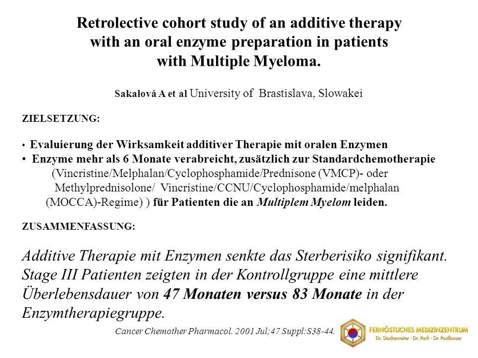 ZIELSETZUNG: Evaluierung der Wirksamkeit additiver Therapie mit oralen Enzymen Enzyme mehr als 6 Monate verabreicht, zusätzlich zur Standardchemothera