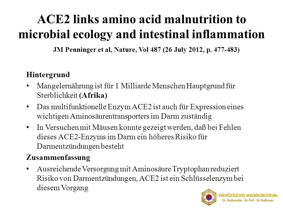 ACE2 links amino acid malnutrition to microbial ecology and intestinal inflammation Hintergrund Mangelernährung ist für 1 Milliarde Menschen Hauptgrun