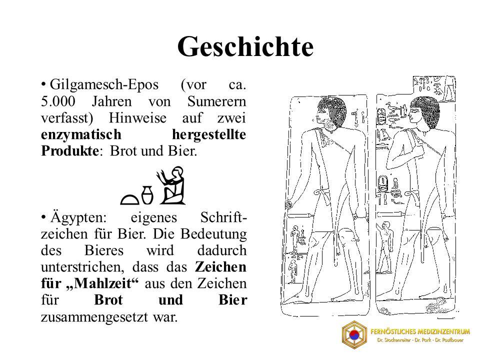 Gilgamesch-Epos (vor ca. 5.000 Jahren von Sumerern verfasst) Hinweise auf zwei enzymatisch hergestellte Produkte: Brot und Bier. Ägypten: eigenes Schr