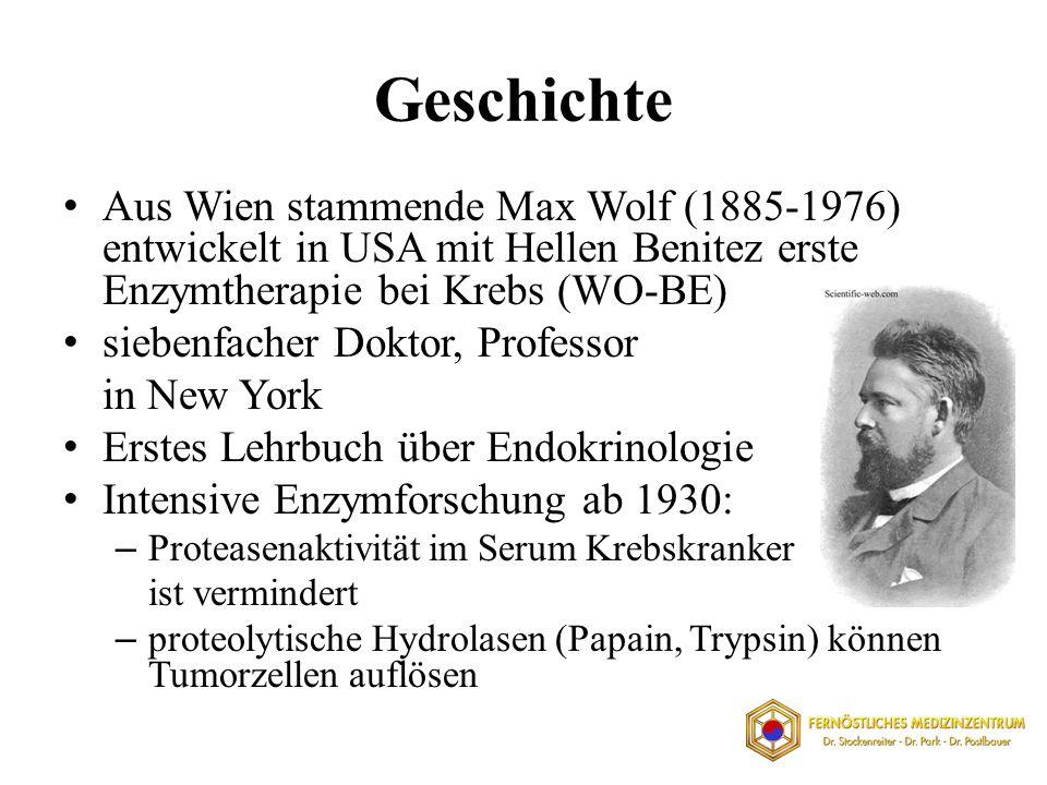 Geschichte Aus Wien stammende Max Wolf (1885-1976) entwickelt in USA mit Hellen Benitez erste Enzymtherapie bei Krebs (WO-BE) siebenfacher Doktor, Pro