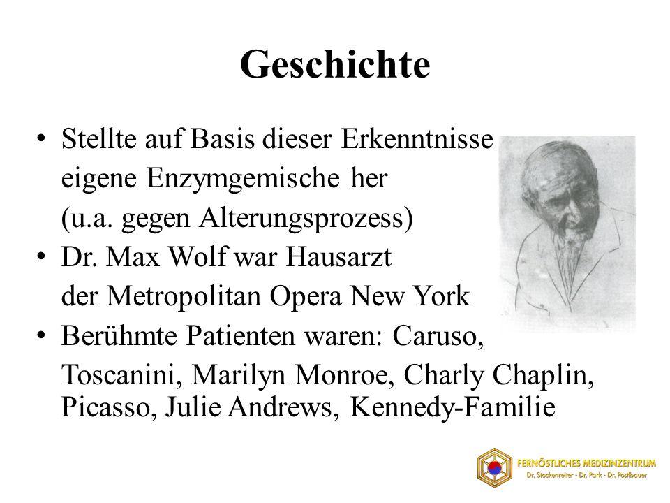 Geschichte Stellte auf Basis dieser Erkenntnisse eigene Enzymgemische her (u.a. gegen Alterungsprozess) Dr. Max Wolf war Hausarzt der Metropolitan Ope