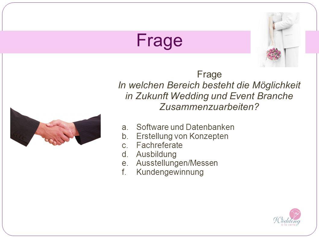 Frage In welchen Bereich besteht die Möglichkeit in Zukunft Wedding und Event Branche Zusammenzuarbeiten? a.Software und Datenbanken b.Erstellung von