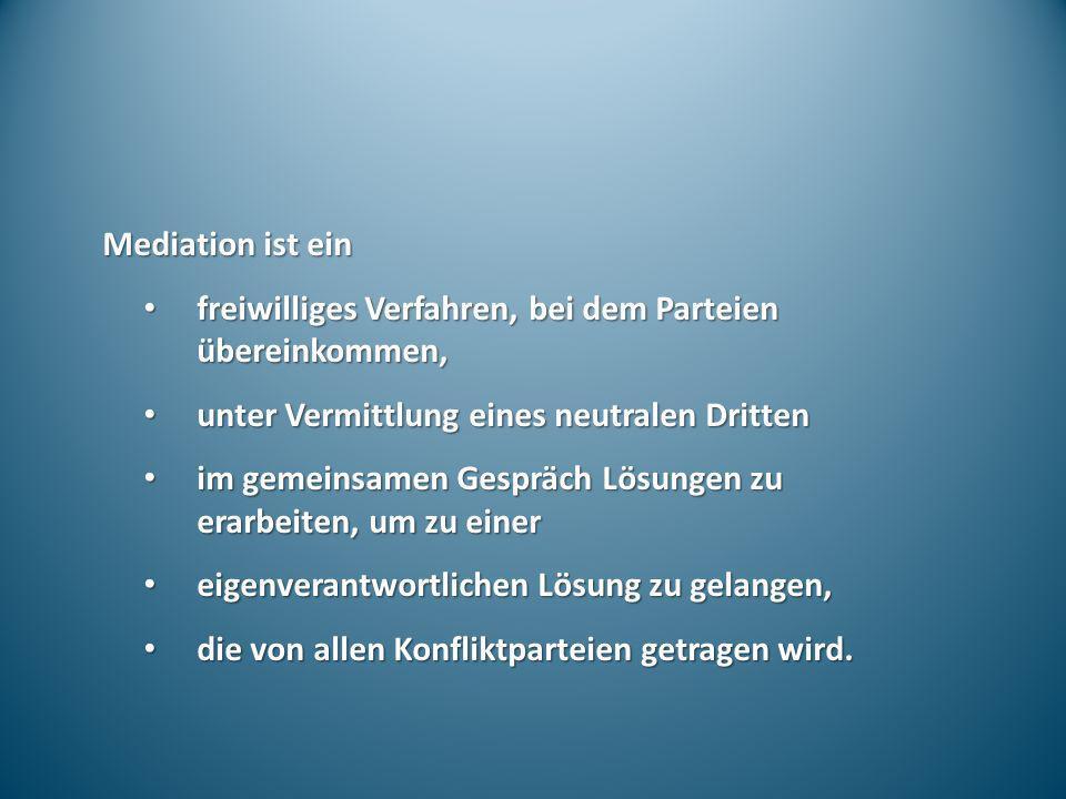 Mediation ist ein freiwilliges Verfahren, bei dem Parteien übereinkommen, freiwilliges Verfahren, bei dem Parteien übereinkommen, unter Vermittlung ei