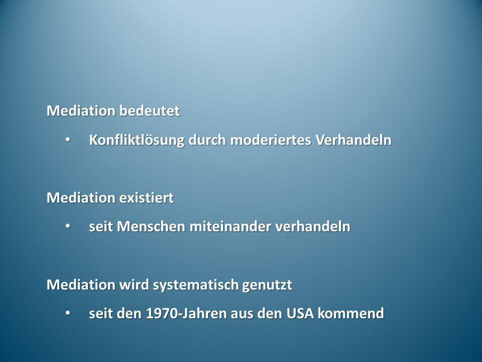Mediation bedeutet Konfliktlösung durch moderiertes Verhandeln Konfliktlösung durch moderiertes Verhandeln Mediation existiert seit Menschen miteinand