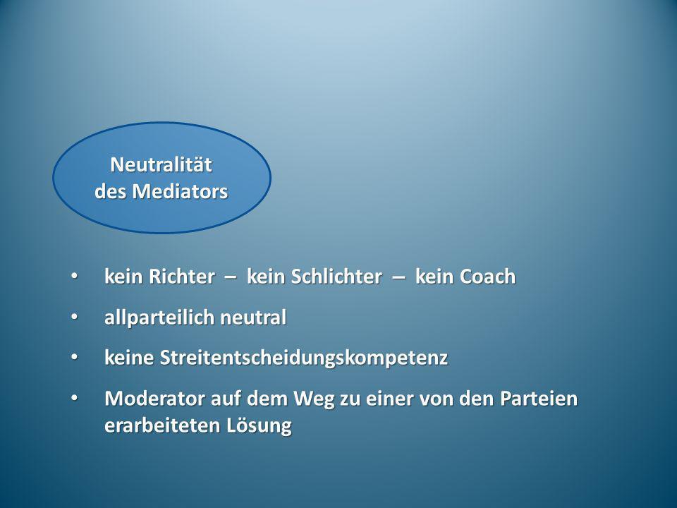 Neutralität des Mediators kein Richter – kein Schlichter – kein Coach kein Richter – kein Schlichter – kein Coach allparteilich neutral allparteilich