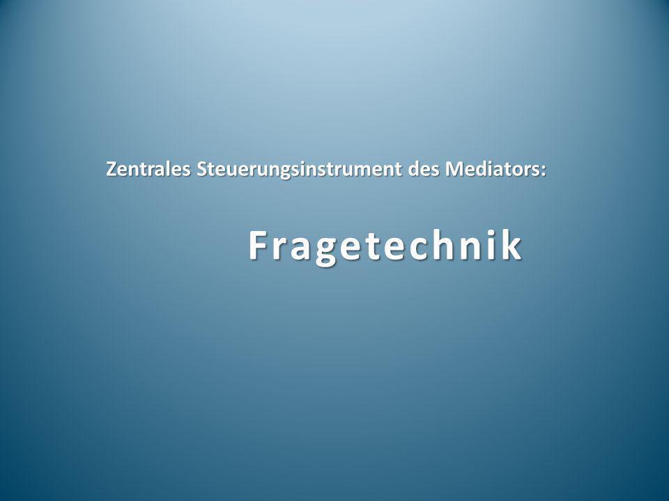 Zentrales Steuerungsinstrument des Mediators: Fragetechnik