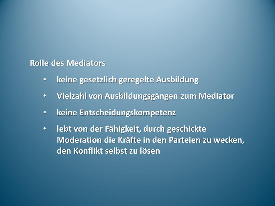 Rolle des Mediators keine gesetzlich geregelte Ausbildung keine gesetzlich geregelte Ausbildung Vielzahl von Ausbildungsgängen zum Mediator Vielzahl v