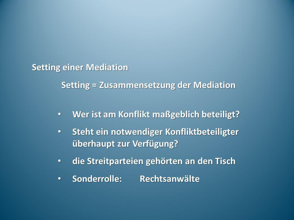 Setting einer Mediation Setting = Zusammensetzung der Mediation Wer ist am Konflikt maßgeblich beteiligt? Wer ist am Konflikt maßgeblich beteiligt? St