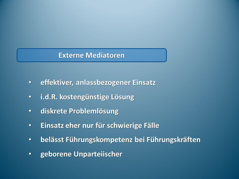 Externe Mediatoren effektiver, anlassbezogener Einsatz effektiver, anlassbezogener Einsatz i.d.R. kostengünstige Lösung i.d.R. kostengünstige Lösung d