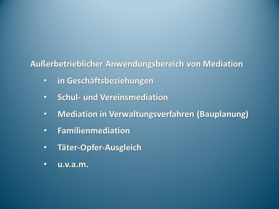 Außerbetrieblicher Anwendungsbereich von Mediation in Geschäftsbeziehungen in Geschäftsbeziehungen Schul- und Vereinsmediation Schul- und Vereinsmedia