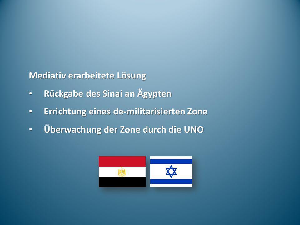 Mediativ erarbeitete Lösung Rückgabe des Sinai an Ägypten Rückgabe des Sinai an Ägypten Errichtung eines de-militarisierten Zone Errichtung eines de-m