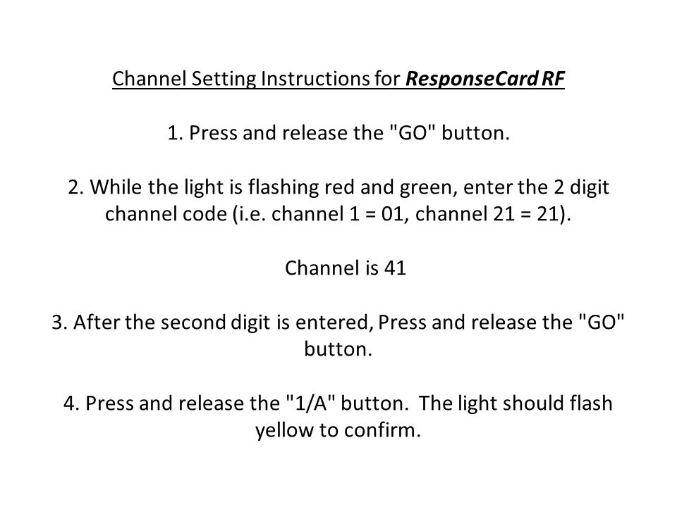 Channel Setting Instructions for ResponseCard RF 1.