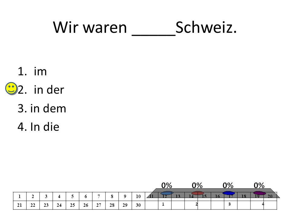 Wir waren _____Schweiz. 1.im 2.in der 3. in dem 4.