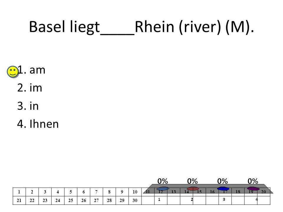 Basel liegt____Rhein (river) (M). 1. am 2. im 3.