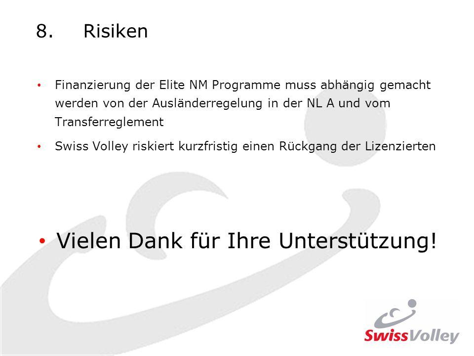 8.Risiken Finanzierung der Elite NM Programme muss abhängig gemacht werden von der Ausländerregelung in der NL A und vom Transferreglement Swiss Volley riskiert kurzfristig einen Rückgang der Lizenzierten Vielen Dank für Ihre Unterstützung!