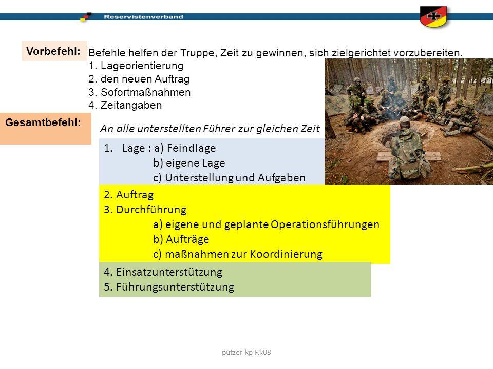 pützer kp Rk08 Vorbefehl: Befehle helfen der Truppe, Zeit zu gewinnen, sich zielgerichtet vorzubereiten. 1. Lageorientierung 2. den neuen Auftrag 3. S