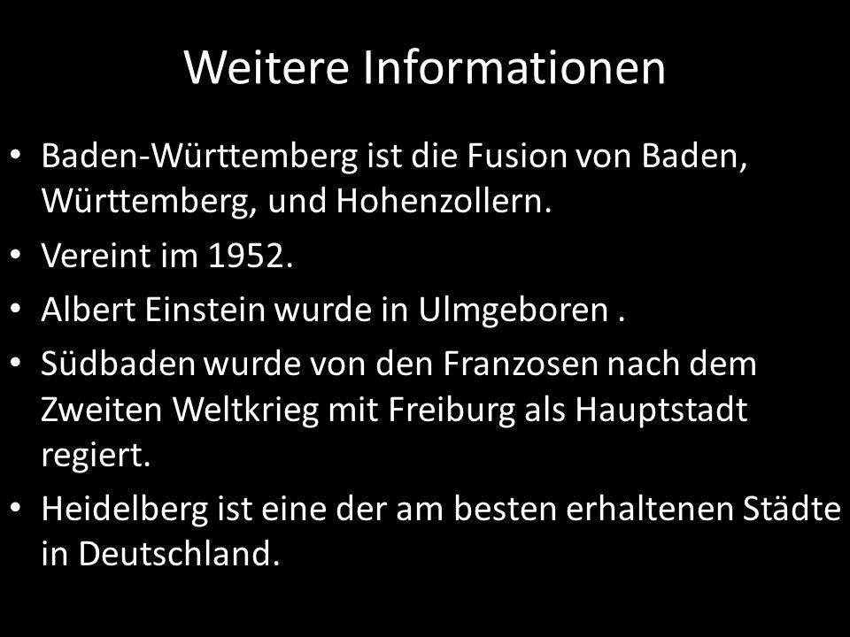 Weitere Informationen Baden-Württemberg ist die Fusion von Baden, Württemberg, und Hohenzollern. Vereint im 1952. Albert Einstein wurde in Ulmgeboren.