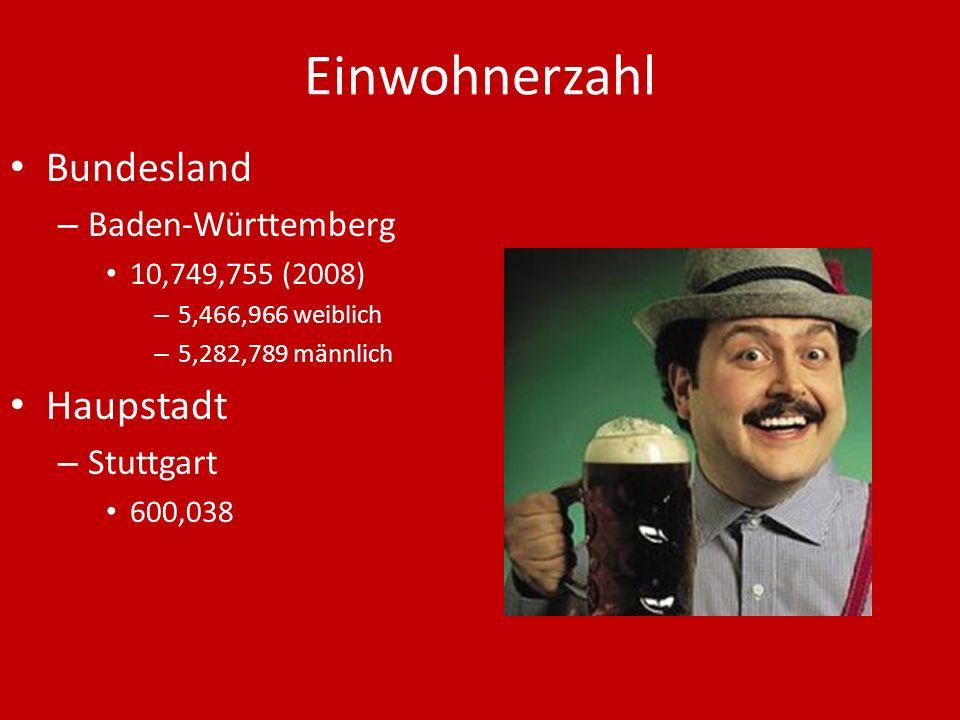 Einwohnerzahl Bundesland – Baden-Württemberg 10,749,755 (2008) – 5,466,966 weiblich – 5,282,789 männlich Haupstadt – Stuttgart 600,038
