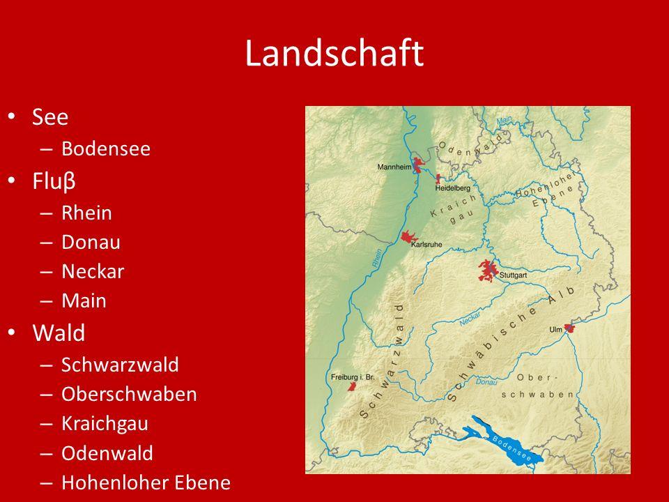 Landschaft See – Bodensee Fluβ – Rhein – Donau – Neckar – Main Wald – Schwarzwald – Oberschwaben – Kraichgau – Odenwald – Hohenloher Ebene