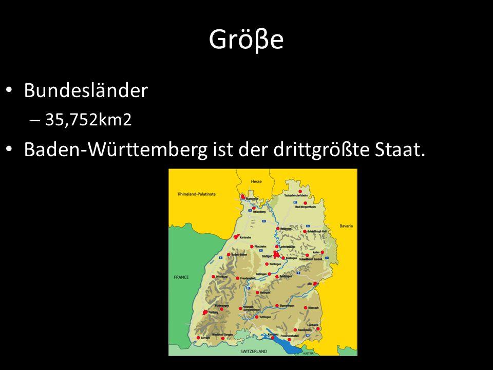 Gröβe Bundesländer – 35,752km2 Baden-Württemberg ist der drittgrößte Staat.
