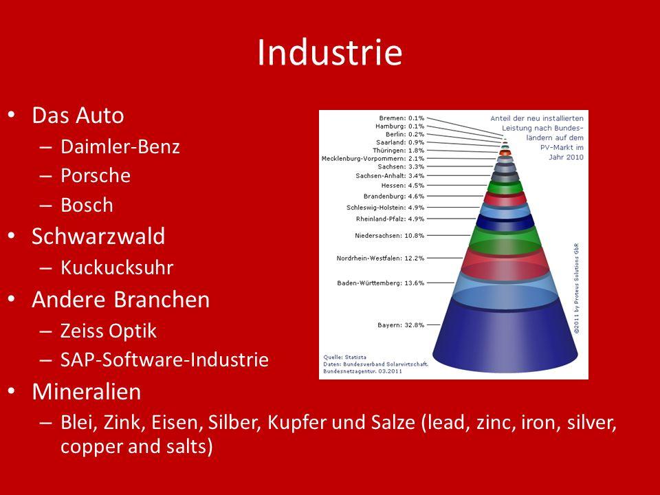 Industrie Das Auto – Daimler-Benz – Porsche – Bosch Schwarzwald – Kuckucksuhr Andere Branchen – Zeiss Optik – SAP-Software-Industrie Mineralien – Blei