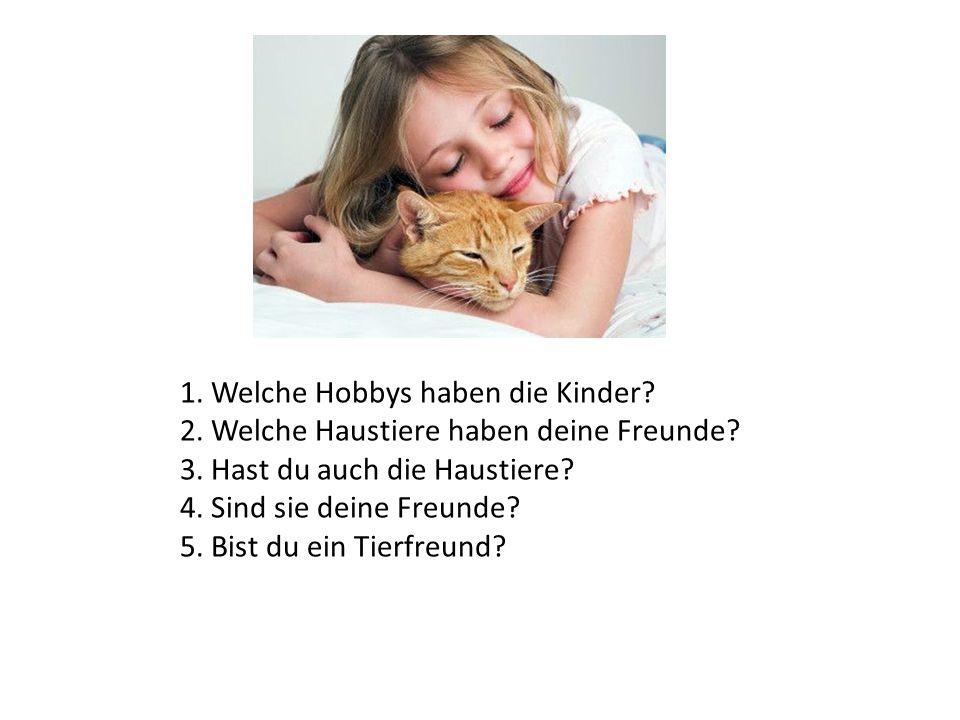 1. Welche Hobbys haben die Kinder? 2. Welche Haustiere haben deine Freunde? 3. Hast du auch die Haustiere? 4. Sind sie deine Freunde? 5. Bist du ein T