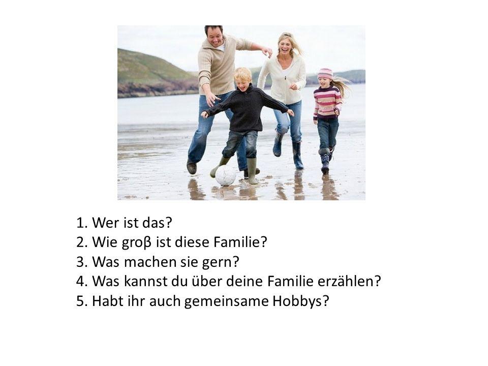 1. Wer ist das? 2. Wie groβ ist diese Familie? 3. Was machen sie gern? 4. Was kannst du über deine Familie erzählen? 5. Habt ihr auch gemeinsame Hobby