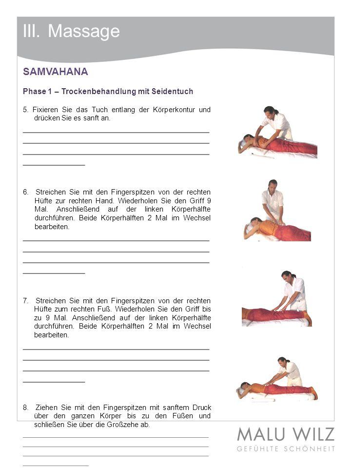 III. Massage SAMVAHANA Phase 1 – Trockenbehandlung mit Seidentuch 5. Fixieren Sie das Tuch entlang der Körperkontur und drücken Sie es sanft an. _____