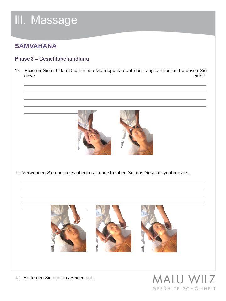 III. Massage SAMVAHANA Phase 3 – Gesichtsbehandlung 13. Fixieren Sie mit den Daumen die Marmapunkte auf den Längsachsen und drücken Sie diese sanft. _