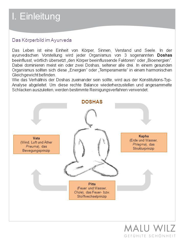 Das Körperbild im Ayurveda Das Leben ist eine Einheit von Körper, Sinnen, Verstand und Seele. In der ayurvedischen Vorstellung wird jeder Organismus v