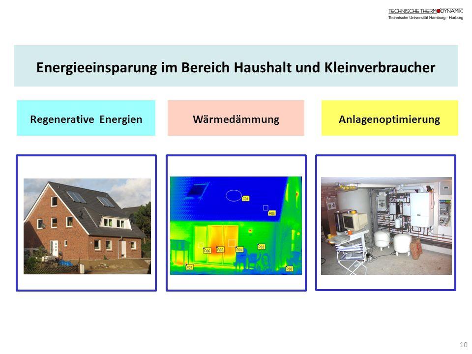 Energieeinsparung im Bereich Haushalt und Kleinverbraucher Regenerative EnergienWärmedämmungAnlagenoptimierung 10
