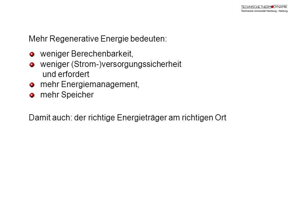 Mehr Regenerative Energie bedeuten: weniger Berechenbarkeit, weniger (Strom-)versorgungssicherheit und erfordert mehr Energiemanagement, mehr Speicher