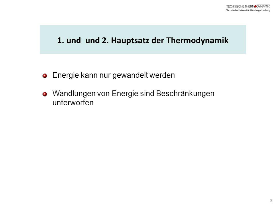 Energie kann nur gewandelt werden Wandlungen von Energie sind Beschränkungen unterworfen 3 1. und und 2. Hauptsatz der Thermodynamik