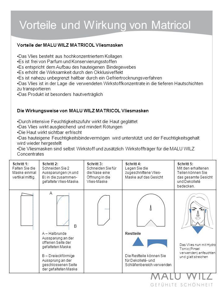 Vorteile und Wirkung von Matricol Vorteile der MALU WILZ MATRICOL Vliesmasken Das Vlies besteht aus hochkonzentriertem Kollagen Es ist frei von Parfum