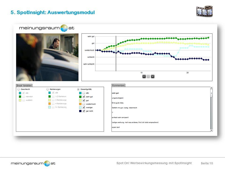 Seite 10 Spot On! Werbewirkungsmessung mit SpotInsight 5. SpotInsight: Auswertungsmodul