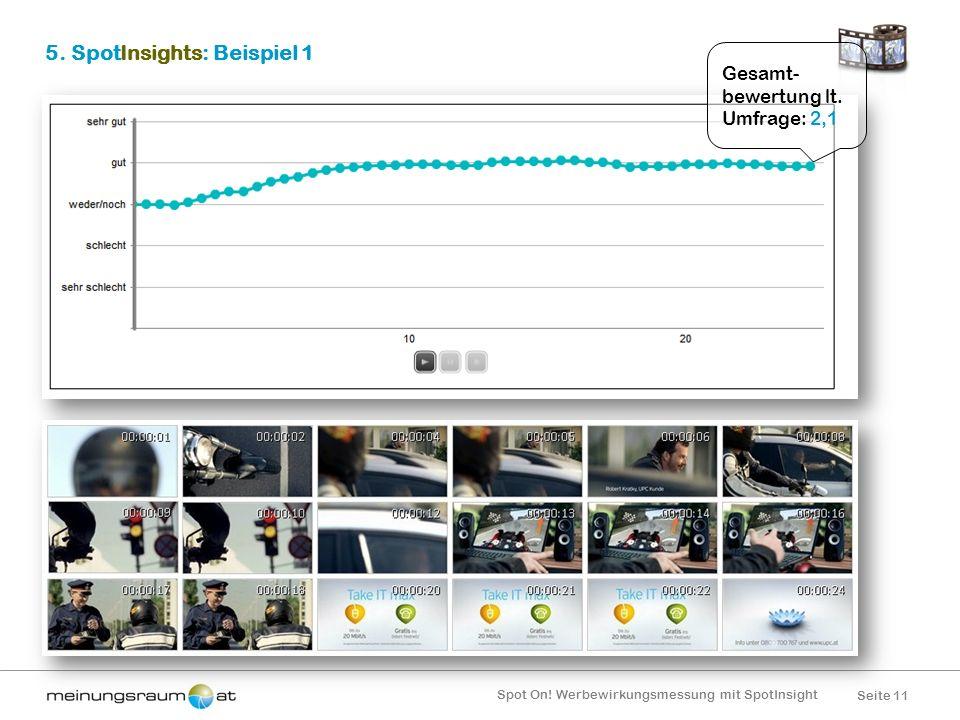 Seite 11 Spot On! Werbewirkungsmessung mit SpotInsight 5. SpotInsights: Beispiel 1 Gesamt- bewertung lt. Umfrage: 2,1