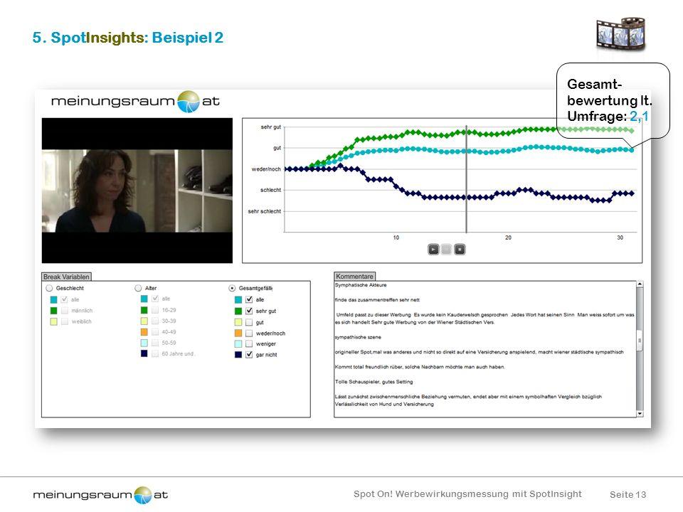 Seite 13 Spot On! Werbewirkungsmessung mit SpotInsight 5. SpotInsights: Beispiel 2 Gesamt- bewertung lt. Umfrage: 2,1