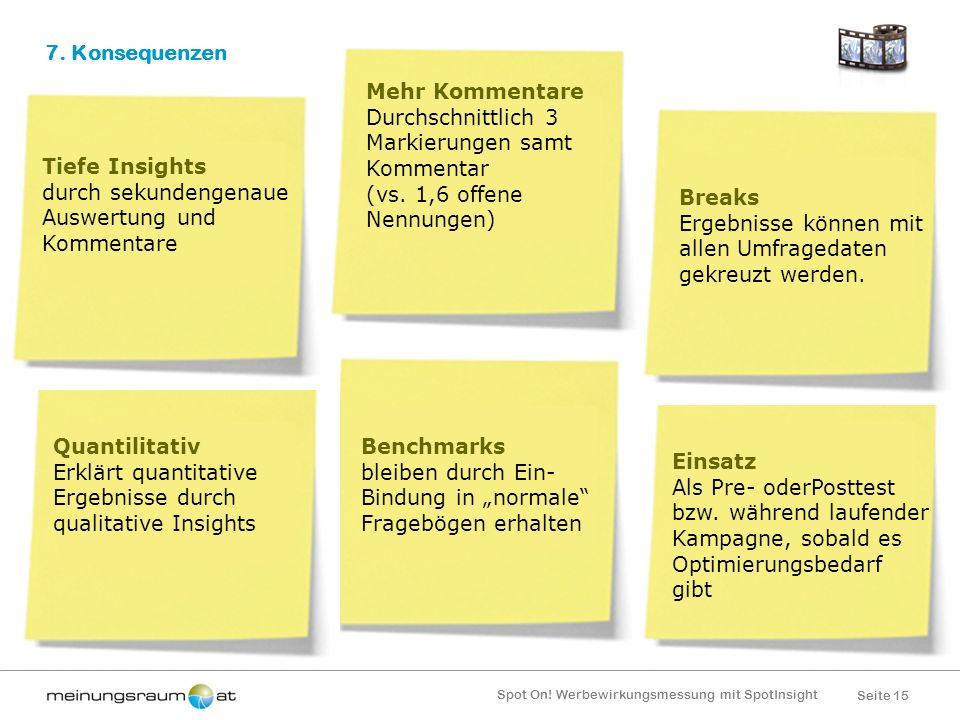 Seite 15 Spot On! Werbewirkungsmessung mit SpotInsight Einsatz Als Pre- oderPosttest bzw. während laufender Kampagne, sobald es Optimierungsbedarf gib