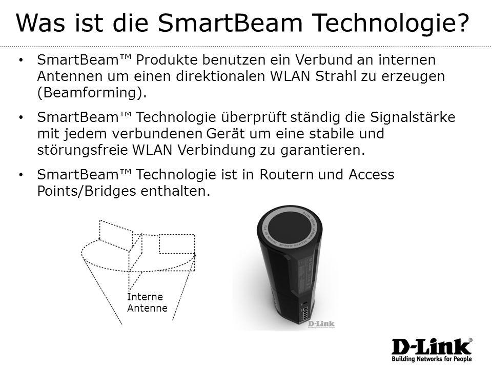 Was ist die SmartBeam Technologie? SmartBeam Produkte benutzen ein Verbund an internen Antennen um einen direktionalen WLAN Strahl zu erzeugen (Beamfo