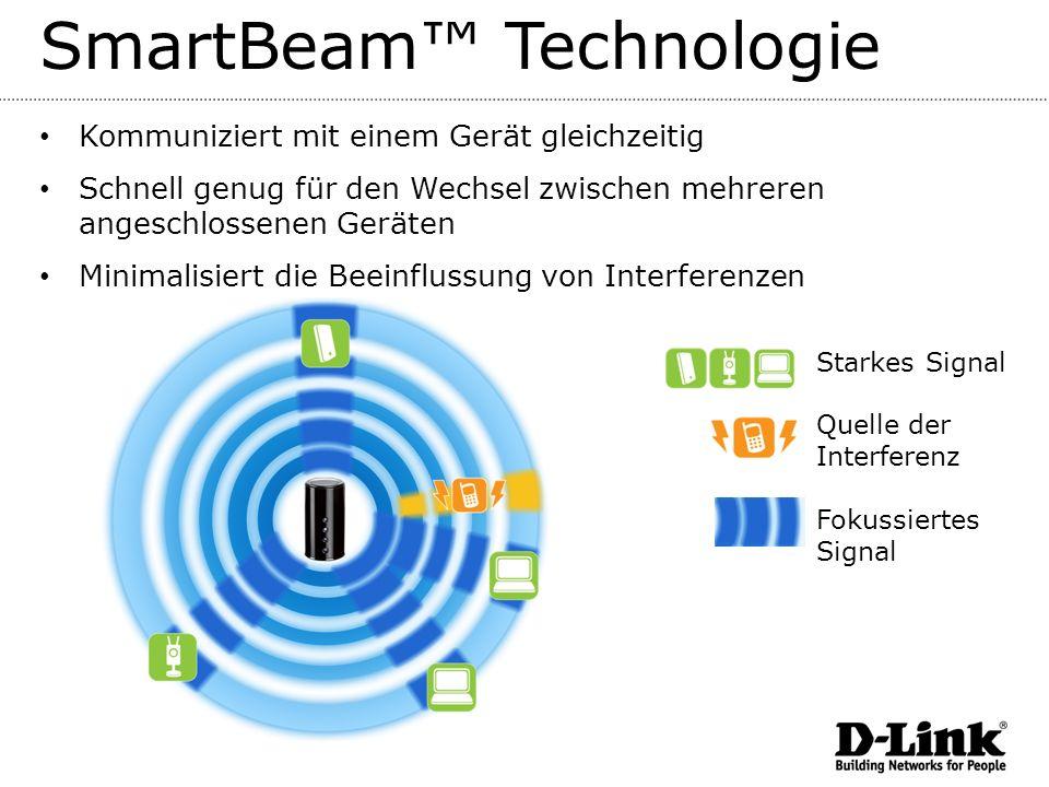 SmartBeam Technologie Kommuniziert mit einem Gerät gleichzeitig Schnell genug für den Wechsel zwischen mehreren angeschlossenen Geräten Minimalisiert die Beeinflussung von Interferenzen Starkes Signal Quelle der Interferenz Fokussiertes Signal