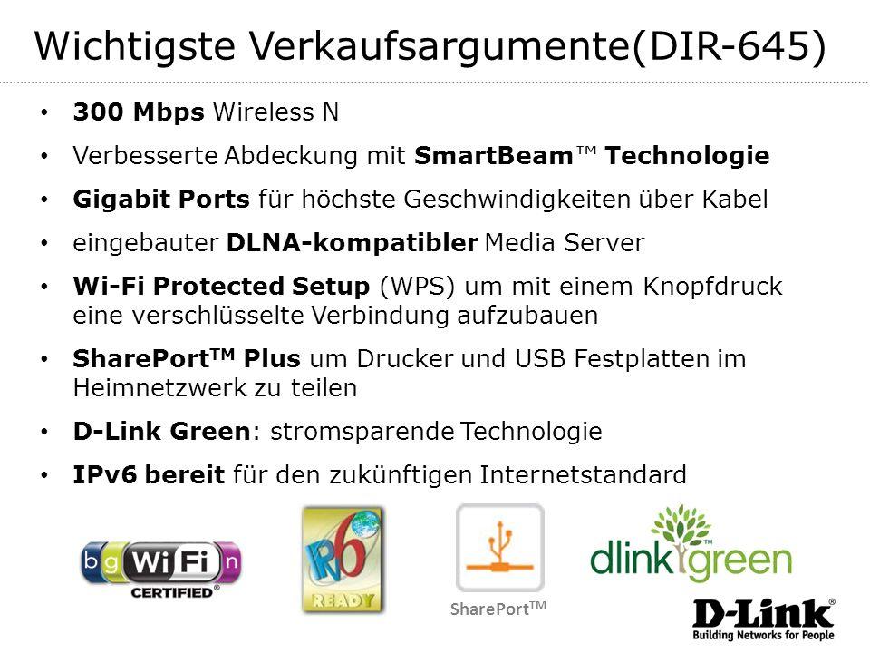 Wichtigste Verkaufsargumente(DIR-645) 300 Mbps Wireless N Verbesserte Abdeckung mit SmartBeam Technologie Gigabit Ports für höchste Geschwindigkeiten über Kabel eingebauter DLNA-kompatibler Media Server Wi-Fi Protected Setup (WPS) um mit einem Knopfdruck eine verschlüsselte Verbindung aufzubauen SharePort TM Plus um Drucker und USB Festplatten im Heimnetzwerk zu teilen D-Link Green: stromsparende Technologie IPv6 bereit für den zukünftigen Internetstandard SharePort TM