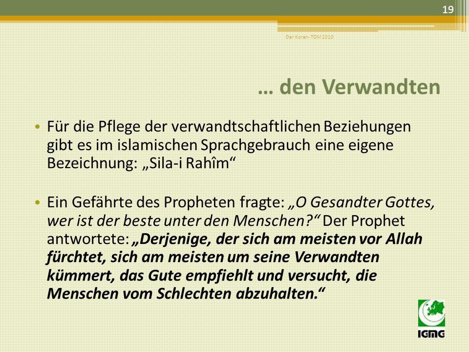 Hadith: Als Muhammad (saw) dreimal Schande über ihn! sagte, fragten seine Gefährten: Wer ist diese Person, o Gesandter Gottes? Der Gesandte Gottes ant