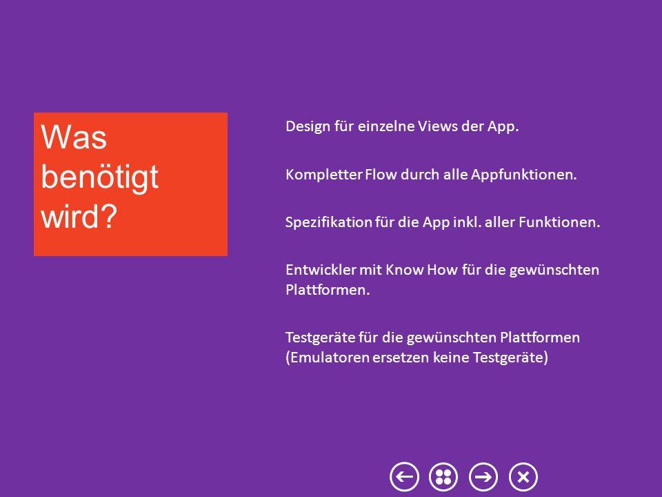Design für einzelne Views der App. Kompletter Flow durch alle Appfunktionen. Spezifikation für die App inkl. aller Funktionen. Entwickler mit Know How