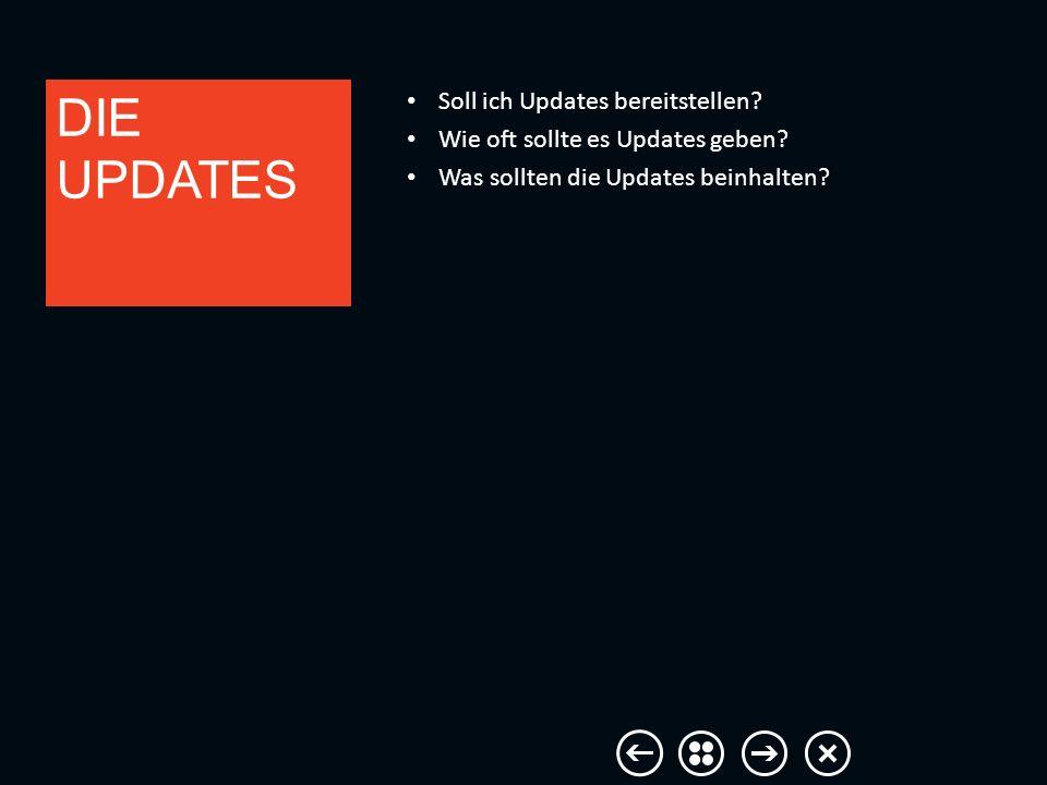 Soll ich Updates bereitstellen? Wie oft sollte es Updates geben? Was sollten die Updates beinhalten? DIE UPDATES